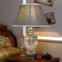 Modernist Urn-Shaped Reading Light Clear Crystal 1 Bulb Small Desk Lamp in Brown