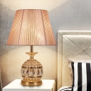 Pineapple Nightstand Lamp Modernism Beveled Crystal 1 Bulb Reading Book Light in Gold