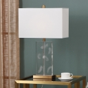 1 Head Rectangle Desk Lamp Modern Clear Crystal Table Light in White with Fabric Shade