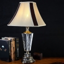Bell Fabric Study Lamp Modern 1 Bulb Beige Task Light with Bronze Carved Metal Base