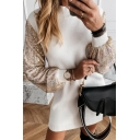 Stylish Chic Ladies' Long Sleeve Crew Neck Sequins Panel Knitted Mini Shift Dress in White