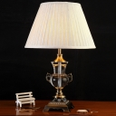 Contemporary 1 Bulb Reading Light Beige Pleated Nightstand Lamp with Fabric Shade