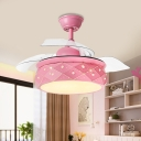 Contemporary LED Semi Flush Light Fixture with Acrylic Shade Pink/Blue Drum 3 Blades Pendant Fan Lamp with Remote/Wall and Remote Control, 42