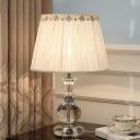 Modernist Gourd Fabric Task Lighting Beveled Crystal 1 Bulb Night Table Lamp in Beige