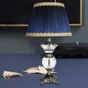 Tapered Drum Crystal Table Light Contemporary Fabric 1 Head Small Desk Lamp in Blue