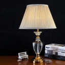 Jar Shape Study Lamp Contemporary Beveled Crystal 1 Head Reading Book Light in Beige