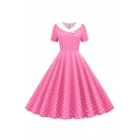Lovely Girls' Short Sleeve Lapel Neck Double Breasted Polka Dot Pattern Maxi Pleated Swing Dress for Prom