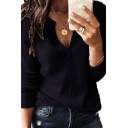 Classic Women's Long Sleeve V-Neck Knit Loose Fit Solid Color T-Shirt