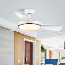 Acrylic Round Semi Flushmount Modernism Living Room LED 3-Blade Ceiling Fan Light Fixture in White, 42