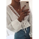 Cute White Long Sleeve Deep V-Neck Lace Trim Tied Waist Striped Sheer Shirt for Women
