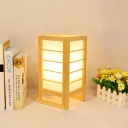 Japanese 1 Bulb Nightstand Lamp Beige Rectangle Reading Book Light with Wood Shade