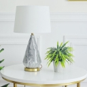 White Barrel Table Light Nordic 1 Bulb Fabric Nightstand Lamp with Urn Ceramic Base