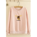 Cute Girls' Simple Long Sleeve Round Neck Letter AWESOME Cow Graphic Embroidery Loose Fit Sweatshirt