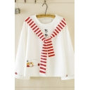 Fancy Chic Women's Long Sleeve Crew Neck Japanese Letter Cat Graphic Striped Tied Front Loose Pullover Sweatshirt