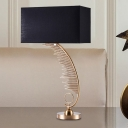 Modern Rectangle Reading Light Fabric 1 Head Night Table Lamp in Black for Bedside