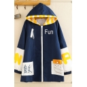 Harajuku Women's Long Sleeve Zipper Front Letter FUN Rise Graphic Striped Colorblock Oversize Long Coat in Navy