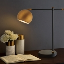 1 Head Globe Desk Light Modern Metal Night Table Lamp in Brass with Rotating Node
