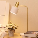1 Head Living Room Desk Lamp Modern White/Blue Table Light with Cylindrical Metal Shade
