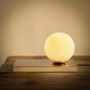 White Glass Round Desk Lamp Modern 1 Bulb Table Light with Rectangle Gold Metal Base