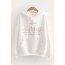 Popular Chic White Long Sleeve Drawstring UNIVERSE Graphic Pouch Pocket Hoodie for Girls