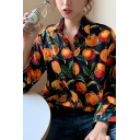 Stylish Ladies' Black Long Sleeve Lapel Neck Button Front All Over Orange Pattern Loose Shirt