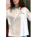 Leisure Classic Girls' Short Sleeve Rainbow Lapel Neck Button Detail GIVE BRAVE Letter Relaxed Fit Polo Top