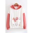 Popular Girls Long Sleeve Drawstring Cute Animals Patterned Color Block Flap Pocket Oversize Hoodie