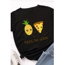 Chic Roll Up Sleeves Crew Neck Pineapple Print Letter THE HATERS Slim Fit Graphic Tee Top