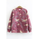 Unique Female Leisure Long Sleeve Zipper Front Patterned Relaxed Fit Jacket