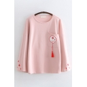 Casual Womens Long Sleeve Round Neck Floral Embroidered Tassel Pocket Panel Loose T Shirt