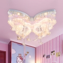 Butterfly LED Chandelier Girls Bedroom Hanging Crystal Flush Mount Light in White 31.5