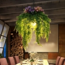 Green Plant Ceiling Suspension Lamp Industrial Metal 1 Bulb Restaurant LED Pendant Light