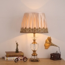 Vase Desk Light Modern Faceted Crystal 1 Head Gold Night Table Lamp with Fabric Shade