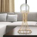 Modernism LED Task Lighting Gold Spherical Reading Lamp with Clear Crystal Shade