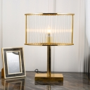 1 Head Laser Cut Table Lamp Contemporary Clear Crystal Reading Book Light in Gold