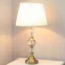 Tapered Drum Crystal Desk Light Modernism Fabric 1 Bulb Night Table Lamp in White