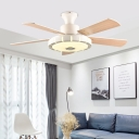 White LED Flush Lighting Contemporary Metal Round 5 Blades Ceiling Fan Lamp for Living Room, 32