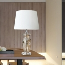 Flare Study Lamp Modern Fabric 1 Head White Desk Light with Jar Clear Crystal Base