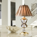 Fabric Cone Table Light Modern 1 Bulb Light Brown Desk Lamp with Carved Gold Metal Base