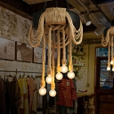 Exposed Bulb Rope Chandelier Lighting Farmhouse 6 Heads Restaurant Pendant Lamp in Beige with Tyre Deco