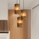 Rope Beige Cluster Pendant Lamp Cylindrical 3 Bulbs Countryside Suspension Lamp for Coffee Shop