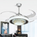 Crystal Silver Semi Flush Mount 2-Layer Modernism 4 Blades LED Hanging Ceiling Fan Light, 42
