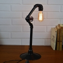 Iron Black Finish Desk Light Arched 1 Light Industrial Table Lamp with Plug-In Cord