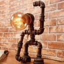 Vintage Hand-Raising Robot Small Desk Light 1-Head Metallic Night Table Lamp in Rust