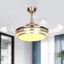 LED Semi Flush Light Fixture Contemporary Dining Room 4 Clear Blades Fan Lamp with Circle Acrylic Shade in Silver, 36