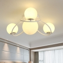 Cream Glass Ball Flushmount Contemporary 4 Heads White/Black Finish Flush Ceiling Light Fixture for Bedroom