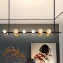 Black Linear Hanging Chandelier Minimalist 6-Light Metallic Suspended Pendant Lamp for Restaurant