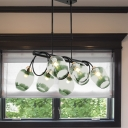 Black Bud Suspension Light Contemporary 6-Light Gradual Blue Dimpled Glass Hanging Chandelier with Twisted Arm
