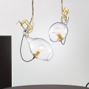 Modernism Sawing Shape Hanging Lamp Clear Glass 1-Light Restaurant Pendant in Gold with Chain