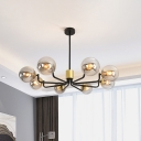 Contemporary 8 Lights Pendant with Grey Glass Shade Brass Globe Chandelier Lamp for Living Room